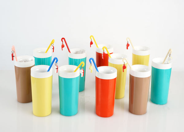Bolero Therm-o-ware Cups + Vintage Whistle Swizzle Sticks