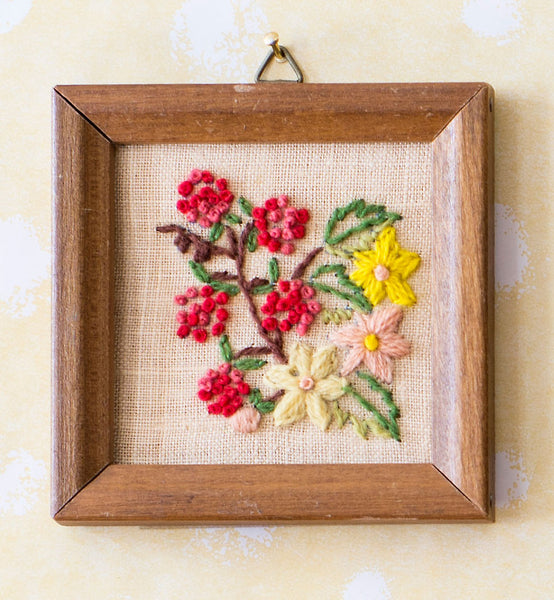 Framed Embroidery of Floral Bouquet