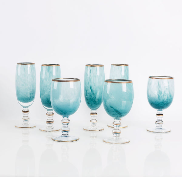 vintage turquoise marble-inked glassware with gold banding