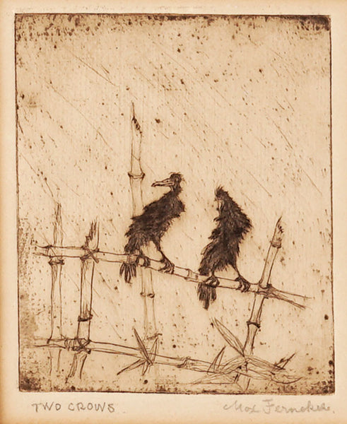Two Crows Etching Max Fernekes