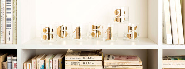 Typography Tumblers with Mod Gold Numbers