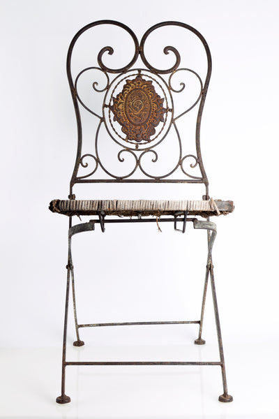 Victorian Vintage Iron Folding Garden Chair