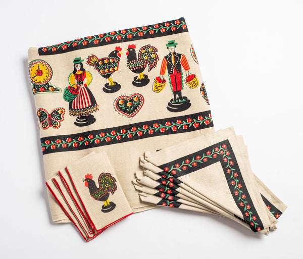Vintage Block-Printed Folklorique Table Linens
