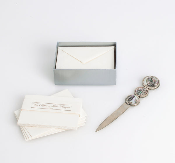 Vintage French Stationery and Silver Letter Opener