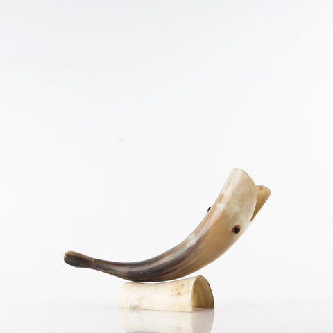 Vintage Whale-Shaped Horn on Stand