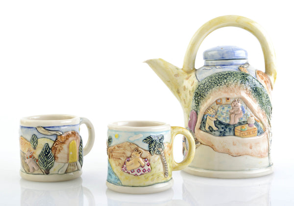 Laura Wilensky Handmade Ceramic Teapot and Mugs