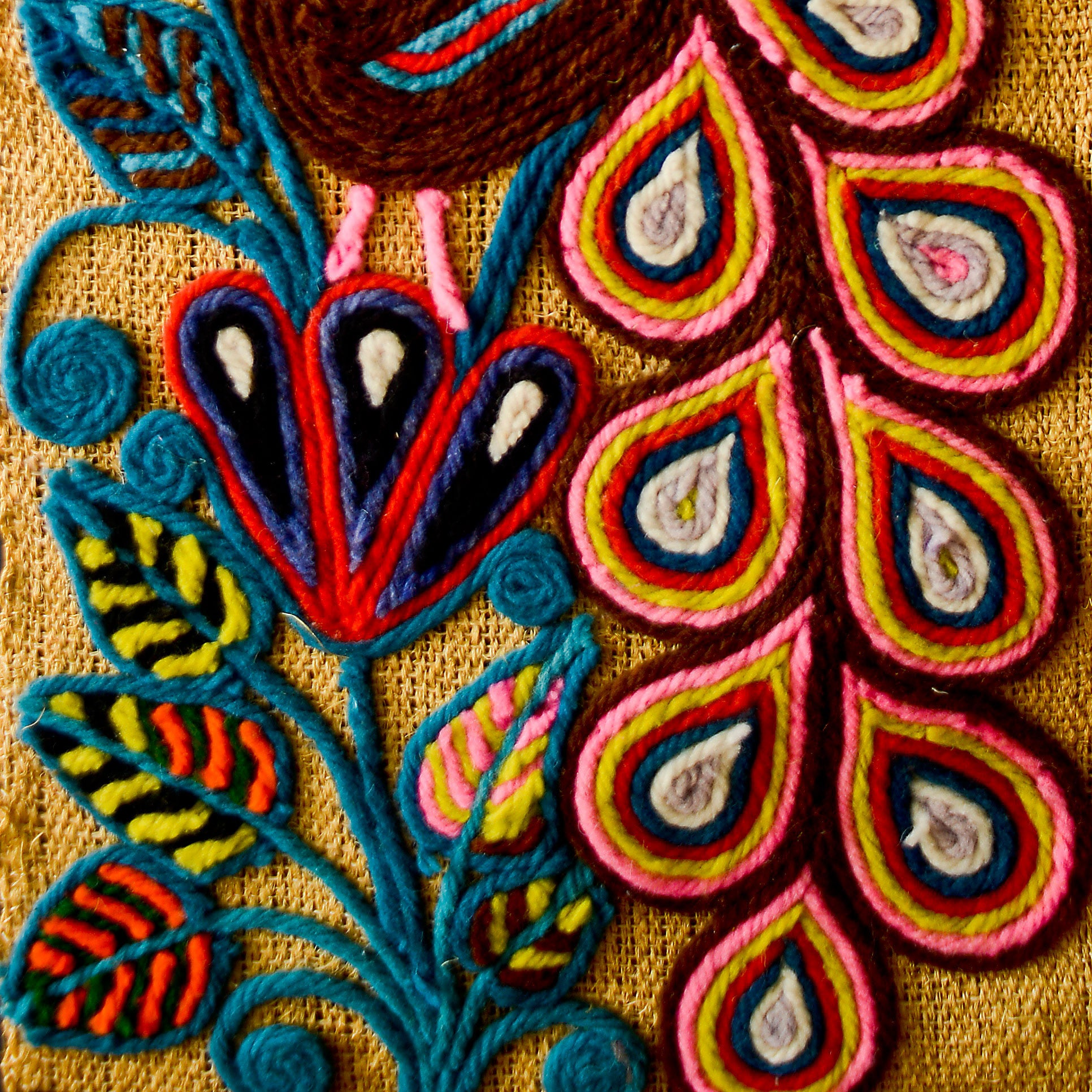 Design Yarn Art chula mexican folk art finder not keeper yarn closeup