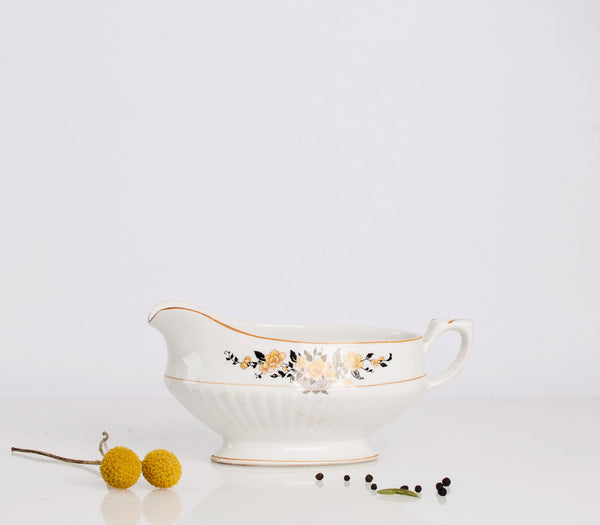 Grecian Style White Gravy Boat with Yellow Roses