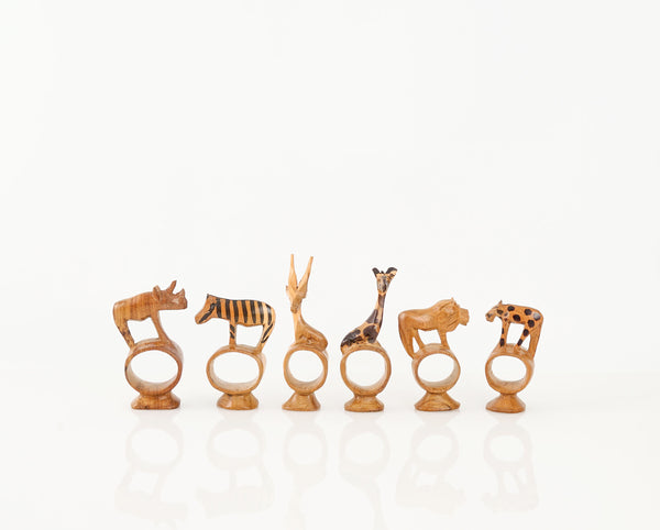 Kenyan Carved Wild Animal Napkin Rings