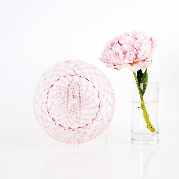 Soft Pink and Shimmery Gold Blown Glass Plates