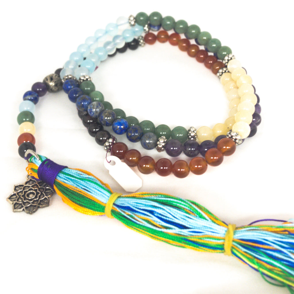 Mala Crystal Chakra Bead with Lotus Charm