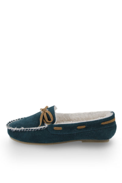 Blue Faux fur lined Slipper Moc