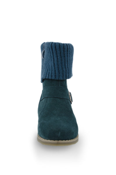 Blue Ankle Boot with Fold Down Cuff Collar