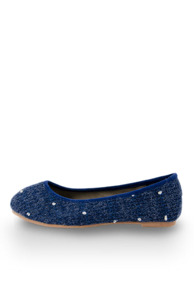 Blue Furry Dot Flats