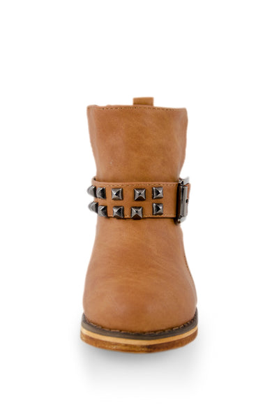 Brown Studded Ankle High Buckle Boot