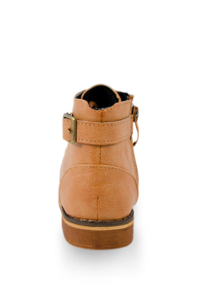 Brown Ankle High Back Buckle Boot