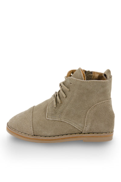 Beige Leather Ankle High Chukka Boot