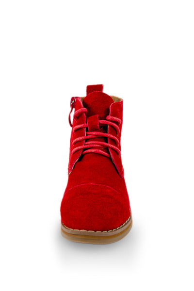 Red Leather Ankle High Chukka Boot