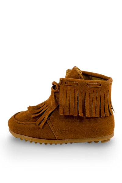 Brown Single Fringe Ankle High Moc