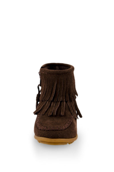 Chocolate Double Fringe Ankle High Moc
