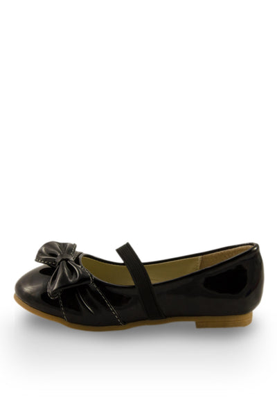 Black Elegant Bow Accent Flats