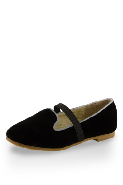 Black Easy Slip On Flats with elastic strap at Twinkie