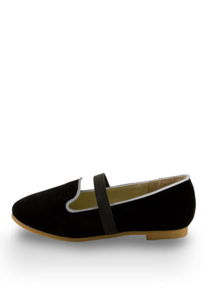 Black Easy Slip On Flats with elastic strap side view at Twinkie