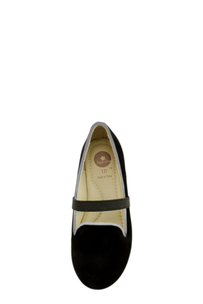Black Easy Slip On Flats with elastic strap top view at Twinkie