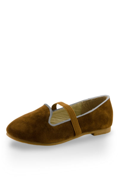 Brown Easy Slip On Flats with elastic strap at Twinkie