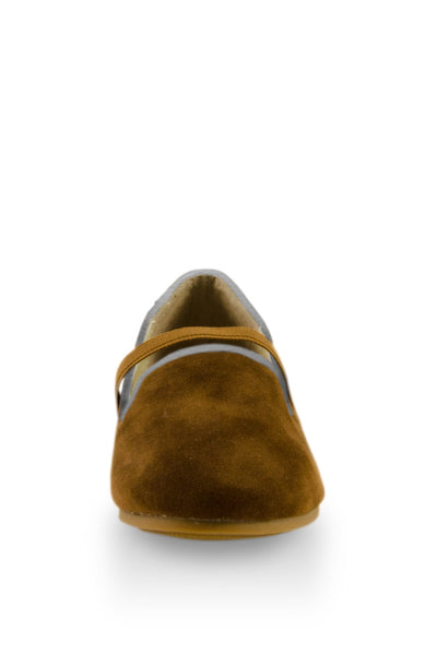 Brown Easy Slip On Flats with elastic strap toe view at Twinkie