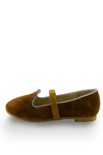 Brown Easy Slip On Flats with elastic strap side view at Twinkie
