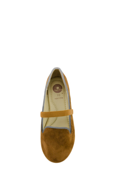 Brown Easy Slip On Flats with elastic strap top view at Twinkie
