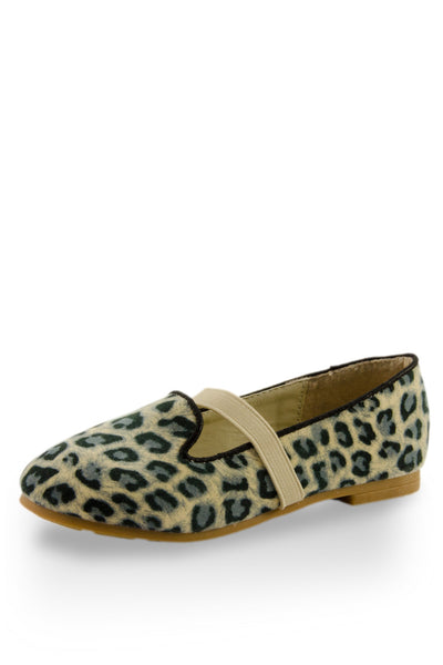 Leopard Print Easy Slip On Flats with elastic strap at Twinkie