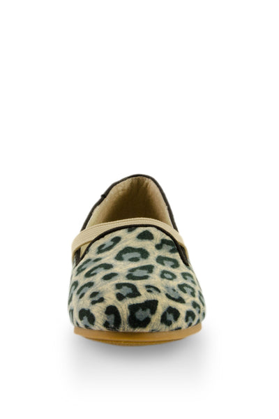 Leopard Print Easy Slip On Flats with elastic strap toe view at Twinkie
