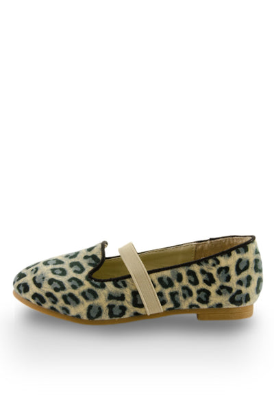 Leopard Print Easy Slip On Flats with elastic strap side view at Twinkie