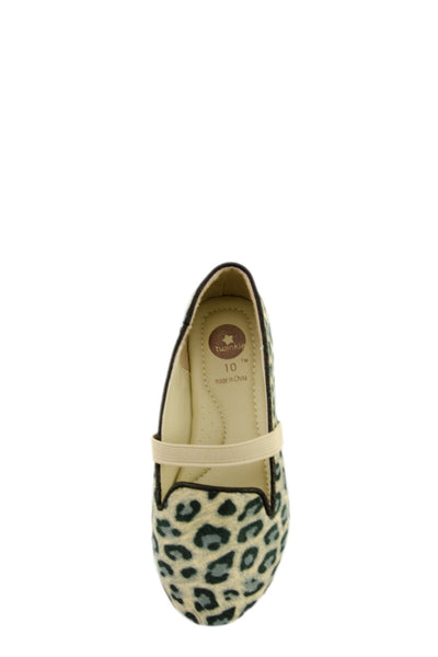 Leopard Print Easy Slip On Flats with elastic strap top view at Twinkie