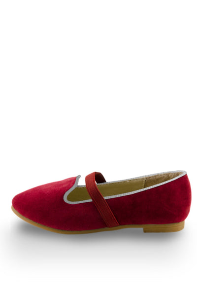 Red Easy Slip On Flats with elastic strap side view at Twinkie