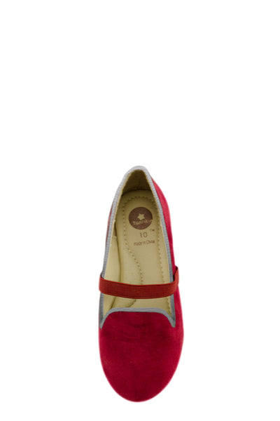 Red Easy Slip On Flats with elastic strap top view at Twinkie
