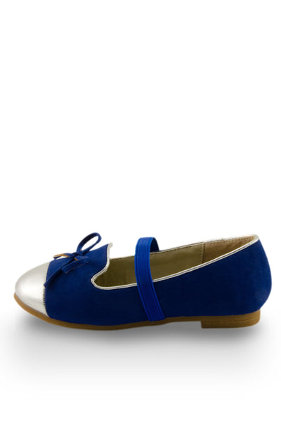 Blue Mirror Shoe Toe Slip On Flats side view with elastic strap at Twinkie