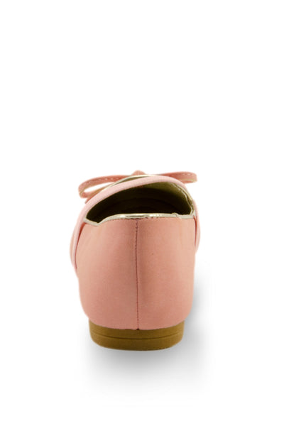 Pink Mirror Shoe Toe Slip On Flats heel view at Twinkie