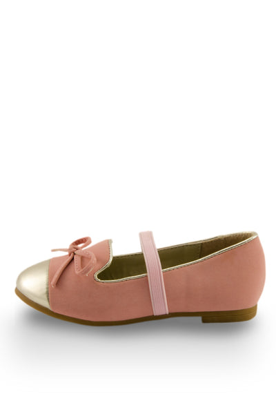 Pink Mirror Shoe Toe Slip On Flats side view with elastic strap at Twinkie