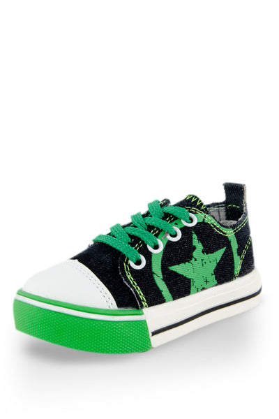 Green Little Rock Star Washed Denim Sneaker