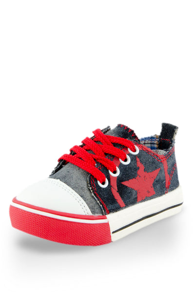 Red Little Rock Star Washed Denim Sneaker