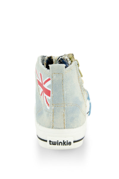 Light Blue I Love Punk Washed Out Denim Sneaker