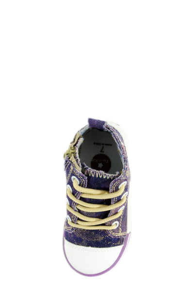 Purple I Love Punk Washed Out Denim Sneaker