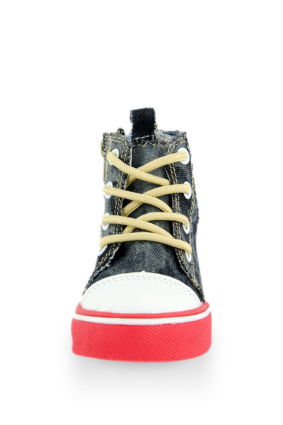 Red I Love Punk Washed Out Denim Sneaker