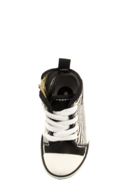 Black Nothing But Stripes High Top Canvas Sneakers