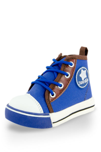 Blue Block High Top Canvas Sneakers