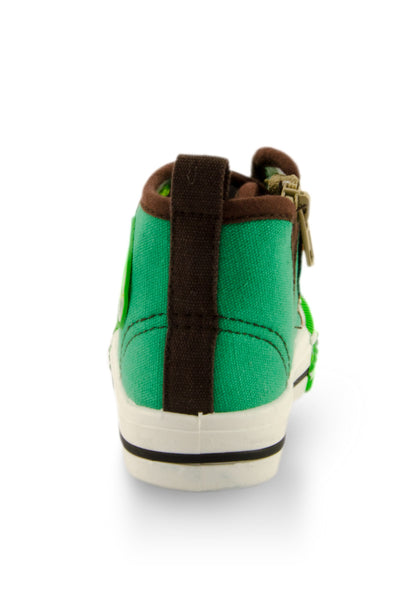 Green Block High Top Canvas Sneakers