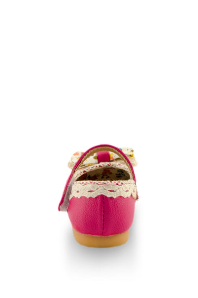 Pink Little Lady Lacy Bow Mary Jane Shoes heel view at Twinkie
